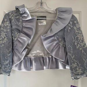 Jovani Lace Jacket with Ruffles